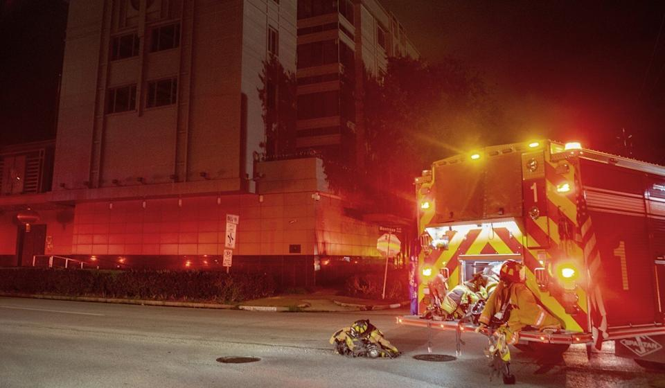 Fire trucks respond to reports of a fire at the Chinese consulate in Houston on Tuesday. Photo: AP