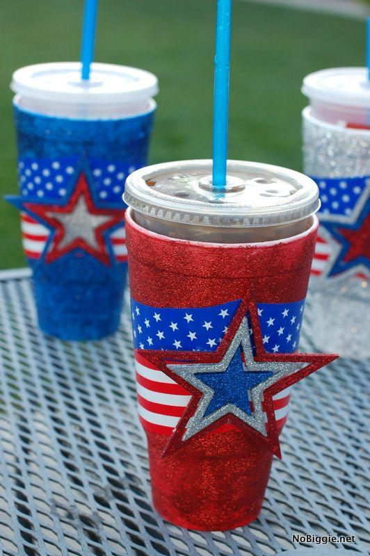 """<p>Turn the ordinary into the extraordinary this Independence Day with paint and lots of glitter. </p><p><em>Get the tutorial from <a href=""""http://www.nobiggie.net/make-festive-cups-for-the-4th-of-july/"""" rel=""""nofollow noopener"""" target=""""_blank"""" data-ylk=""""slk:No Biggie"""" class=""""link rapid-noclick-resp"""">No Biggie</a>.</em></p><p><strong><strong>What You'll Need:</strong></strong> <a href=""""https://www.amazon.com/color-glitter-glue-milliliter-bottles/dp/B01HTYG3LE/?tag=syn-yahoo-20&ascsubtag=%5Bartid%7C10070.g.2446%5Bsrc%7Cyahoo-us"""" rel=""""nofollow noopener"""" target=""""_blank"""" data-ylk=""""slk:Glitter paint"""" class=""""link rapid-noclick-resp"""">Glitter paint</a> ($6, Amazon)</p>"""