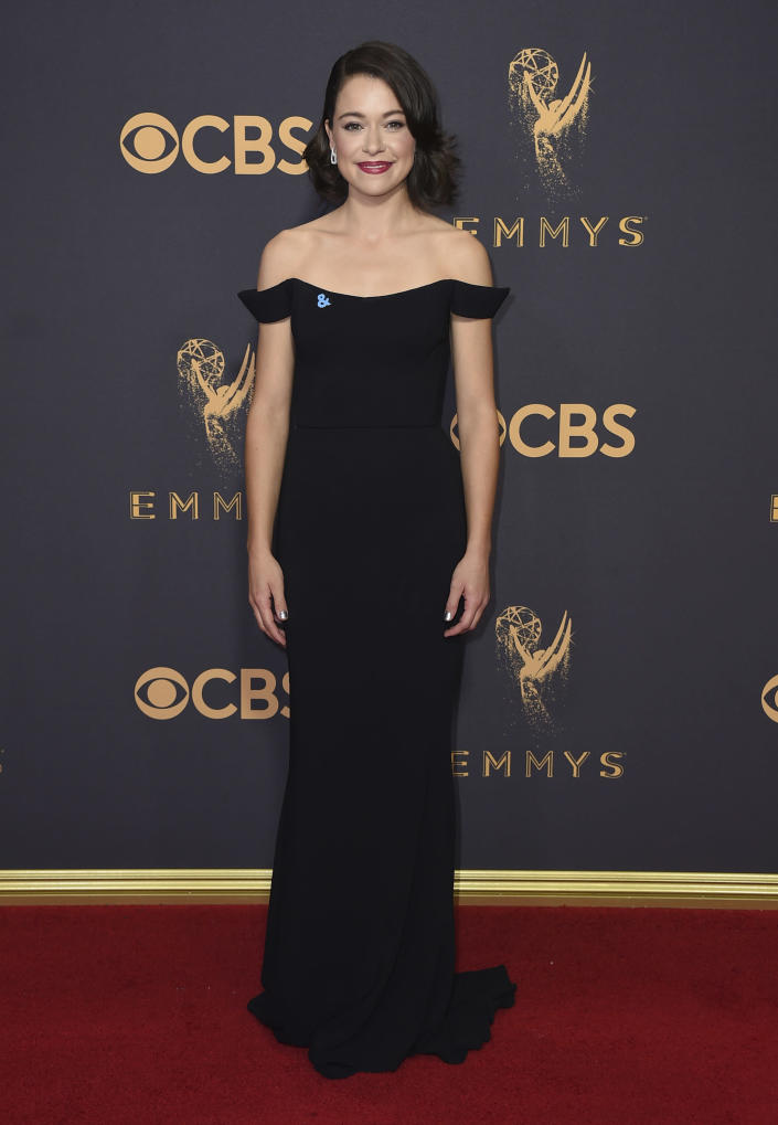 FILE - Tatiana Maslany arrives at the 69th Primetime Emmy Awards on Sept. 17, 2017, in Los Angeles. Maslany turns 35 on Sept. 22. (Photo by Jordan Strauss/Invision/AP, File)