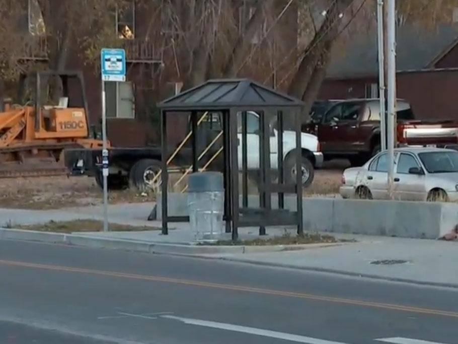 The bus stop where the jogger ran to after he was stabbed: KUTV