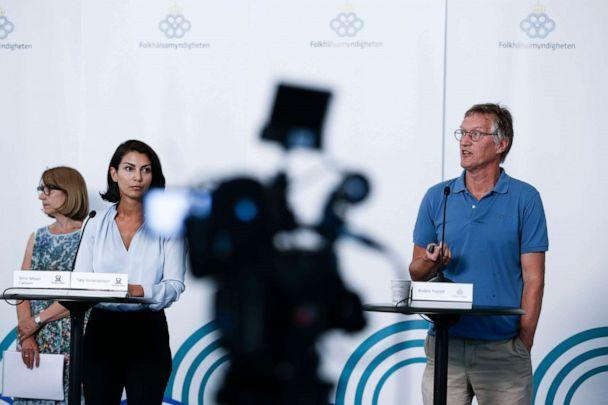 PHOTO: State epidemiologist Anders Tegnell, right, and Taha Alexandersson, Deputy Emergency Response Manager, give a press conference on the situation amidst the new coronavirus pandemic coronavirus, June 23, 2020, in Stockholm. (Magnus Andersson/TT News Agency/AFP via Getty Images, FILE)