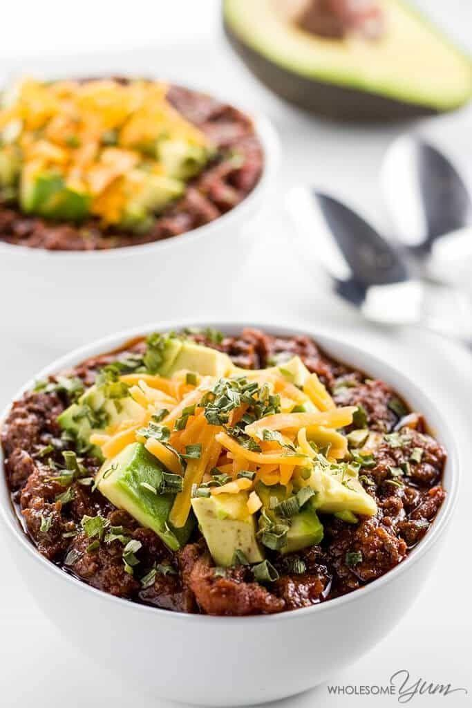 """<p>You won't survive winter without this recipe.</p><p>Get the recipe from <a href=""""https://www.wholesomeyum.com/recipes/low-carb-chili-in-crock-pot-or-instant-pot-paleo-gluten-free/"""" rel=""""nofollow noopener"""" target=""""_blank"""" data-ylk=""""slk:Wholesome Yum"""" class=""""link rapid-noclick-resp"""">Wholesome Yum</a>.</p>"""