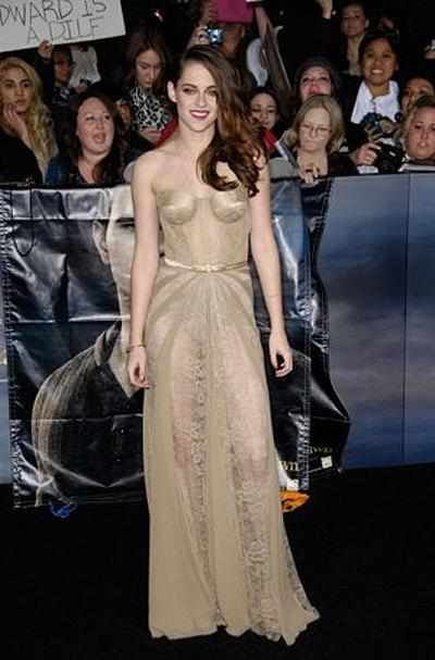 <p><b>Kristen Stewart</b></p> <p>The jury is still open as to whether Kirsten Stewart and Robert  Pattinson are back together solely to promote the final film of the <em>Twilight</em> series, but the starlet had no reservations about baring all during the L.A. premier of <em>Breaking Dawn Part 2</em>. Clad in a nude sheer and lace inset Zuhair Murad dress, she looked utterly confident from every angle.</p>