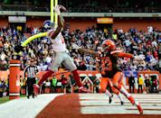 <p>Odell Beckham #13 of the New York Giants can't make a catch inbounds in front of the defense of Joe Haden #23 of the Cleveland Browns during the fourth quarter at FirstEnergy Stadium on November 27, 2016 in Cleveland, Ohio. (Photo by Jason Miller/Getty Images) </p>