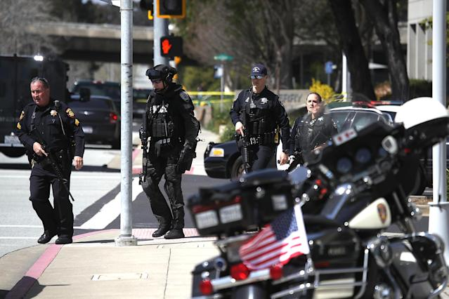 <p>Police walk outside of the YouTube headquarters on April 3, 2018 in San Bruno, Calif. (Photo: Justin Sullivan/Getty Images) </p>