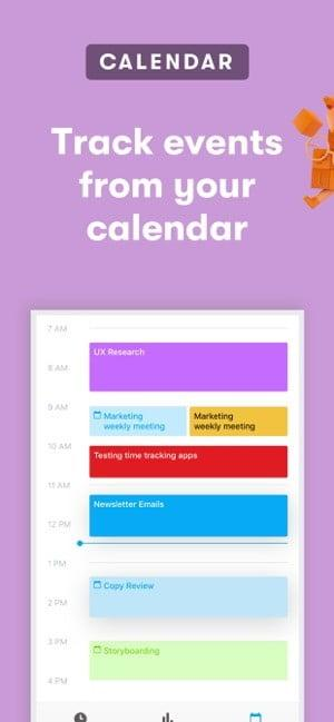 Screenshot of the Toggl app showing syncing events with your calendar