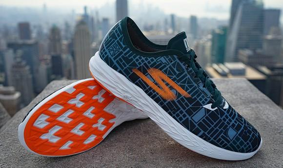 A pair of Skechers sneakers against a blurry background