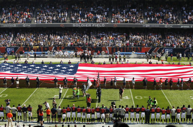 <p>The Pittsburgh Steelers side of the field is nearly empty during the playing of the national anthem before an NFL football game between the Steelers and Chicago Bears, Sunday, Sept. 24, 2017, in Chicago. (AP Photo/Kiichiro Sato) </p>