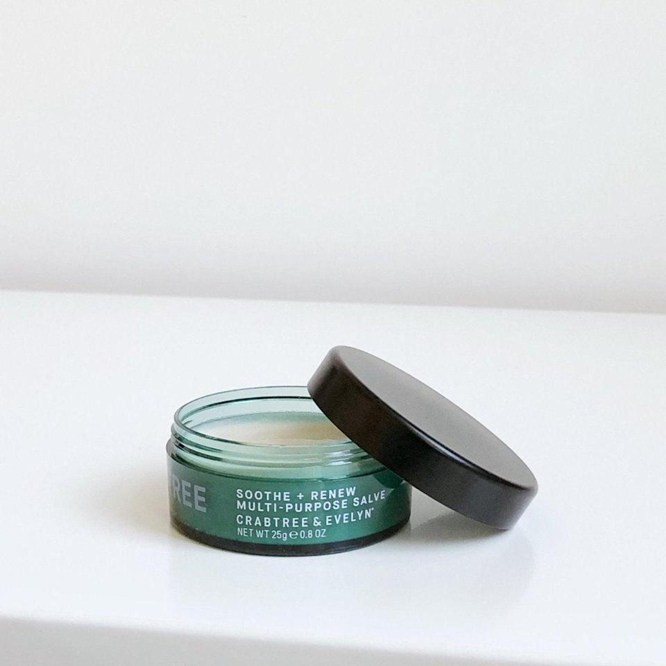 """<h2>Crabtree & Evelyn Soothe + Renew Multi-Purpose Salve</h2><br>A thick, nourishing salve like this one is perfect for helping your feet recover your feet from months of layering socks and wearing boots. Smear a bit on your heels before bed and prepare to wake up with fresh-feeling feet.<br><br><strong>Crabtree & Evelyn</strong> Soothe + Renew Multi-Purpose Salve, $, available at <a href=""""https://go.skimresources.com/?id=30283X879131&url=https%3A%2F%2Fwww.crabtree-evelyn.com%2Fcollections%2Fbodycare%2Fproducts%2F8438"""" rel=""""nofollow noopener"""" target=""""_blank"""" data-ylk=""""slk:Crabtree & Evelyn"""" class=""""link rapid-noclick-resp"""">Crabtree & Evelyn</a>"""