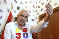 Albanian prime minister Edi Rama speaks during an interview to the Associated Press in Tirana, Friday, June 21, 2019. Rama says the opposition's main goal is to disrupt the country's efforts to launch full membership negotiations with the European Union. (AP Photo/Hektor Pustina)