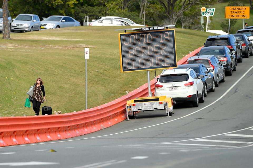 Barriers are seen along Dixon Street in the Queensland-NSW border on the Gold Coast, Friday, July 17, 2020.