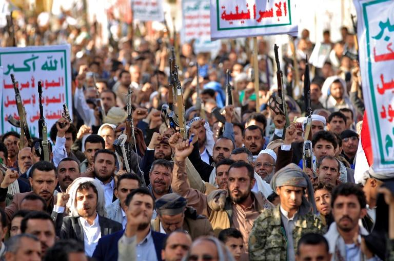 Supporters of Yemen's Iran-backed Huthi rebels demonstrate in the capital Sanaa, which remains under rebel control despite four years of Saudi-led military intervention (AFP Photo/MOHAMMED HUWAIS)