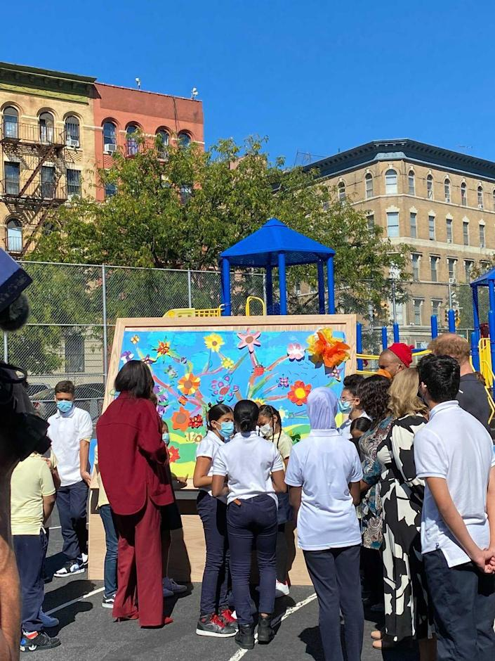 <p>The Duke and Duchess of Sussex also admired a piece of artwork completed by fourth and fifth grade students. </p>