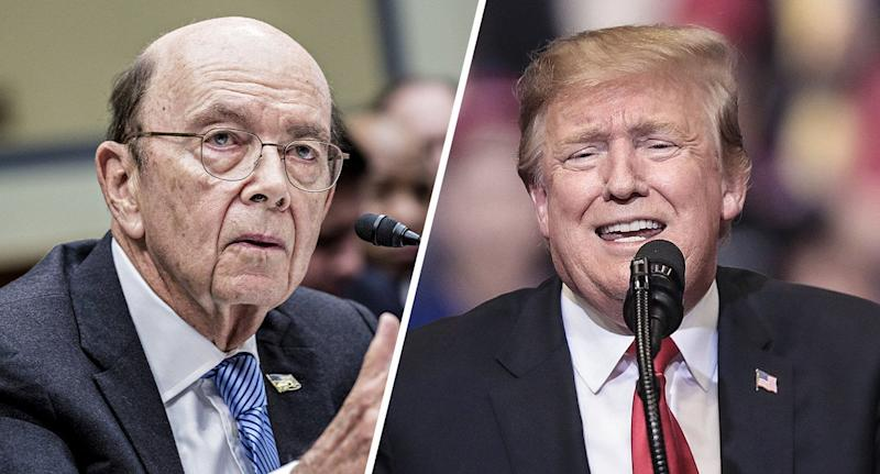 Wilbur Ross, U.S. commerce secretary and President Donald Trump. (Photos: Andrew Harrer/Bloomberg via Getty Images, Scott Olson/Getty Images)