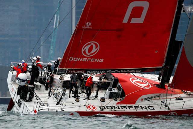 Sailing - Volvo Ocean Race - In-Port Race - Hong Kong, China - January 27, 2018. Dongfeng Race Team sails. REUTERS/Bobby Yip