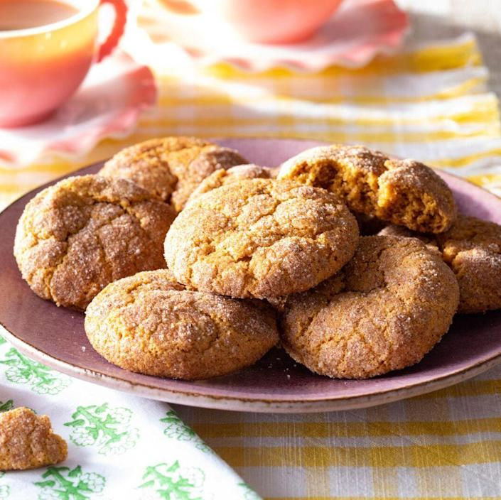 """<p>We've upgraded this classic cinnamon-sugar cookie by giving it an autumnal spin. There's pumpkin puree in the cookie dough and pumpkin pie spice added to the crackly sugar coating. </p><p><a href=""""https://www.thepioneerwoman.com/food-cooking/recipes/a36973232/pumpkin-snickerdoodles-recipe/"""" rel=""""nofollow noopener"""" target=""""_blank"""" data-ylk=""""slk:Get the recipe."""" class=""""link rapid-noclick-resp""""><strong>Get the recipe. </strong></a></p><p><a class=""""link rapid-noclick-resp"""" href=""""https://go.redirectingat.com?id=74968X1596630&url=https%3A%2F%2Fwww.walmart.com%2Fsearch%3Fq%3Dcookie%2Bsheet&sref=https%3A%2F%2Fwww.thepioneerwoman.com%2Ffood-cooking%2Fmeals-menus%2Fg36875717%2Ffall-cookies%2F"""" rel=""""nofollow noopener"""" target=""""_blank"""" data-ylk=""""slk:SHOP COOKIE SHEETS"""">SHOP COOKIE SHEETS</a></p>"""