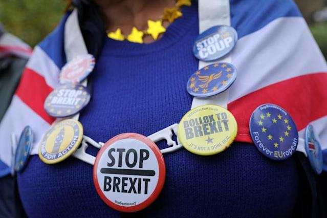 Badges adorn the Union flag of an anti-Brexit activist as she demonstrates outside of the Houses of Parliament in London, United Kingdom (AFP Photo/ISABEL INFANTES)