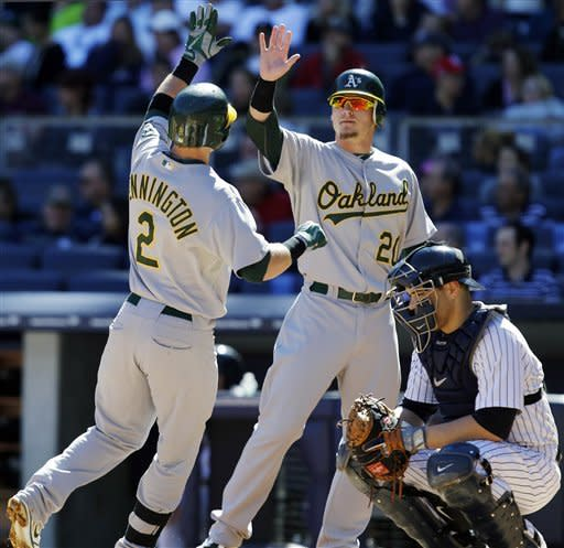 Oakland Athletics' Josh Donaldson congratulates Cliff Pennington at the plate after Pennington's second-inning, two-run home run off New York Yankees starting pitcher Hiroki Kuroda in their baseball game at Yankee Stadium in New York, Sunday, Sept. 23, 2012. Yankees catcher Russell Martin crouches at bottom left. (AP Photo/Kathy Willens)