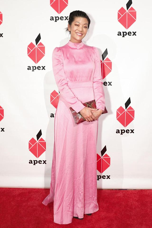 <p>Michelle Lee, editor in chief of <em>Allure</em>, wore a bright milllennial-pink dress at the gala. (Photo: BFA/Courtesy of Apex for Youth) </p>