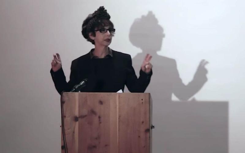 Avital Ronell giving a lecture in 2017. She has been suspended by NYU after the university upheld accusations of sexual harassment