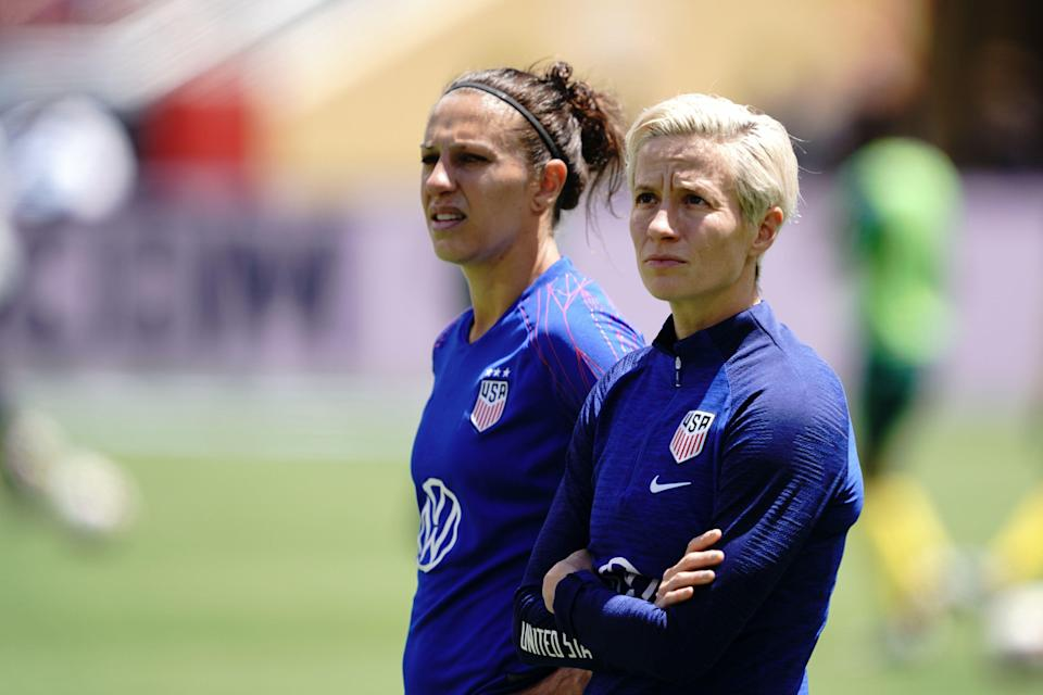 SANTA CLARA, CA - MAY 12: Carli Lloyd #10 and Megan Rapinoe #15 of the United States during an international friendly match between the womens national teams of the United States and South Africa on May 12, 2019 at Levis Stadium in Santa Clara, California. (Photo by John Todd/isiphotos/Getty Images)