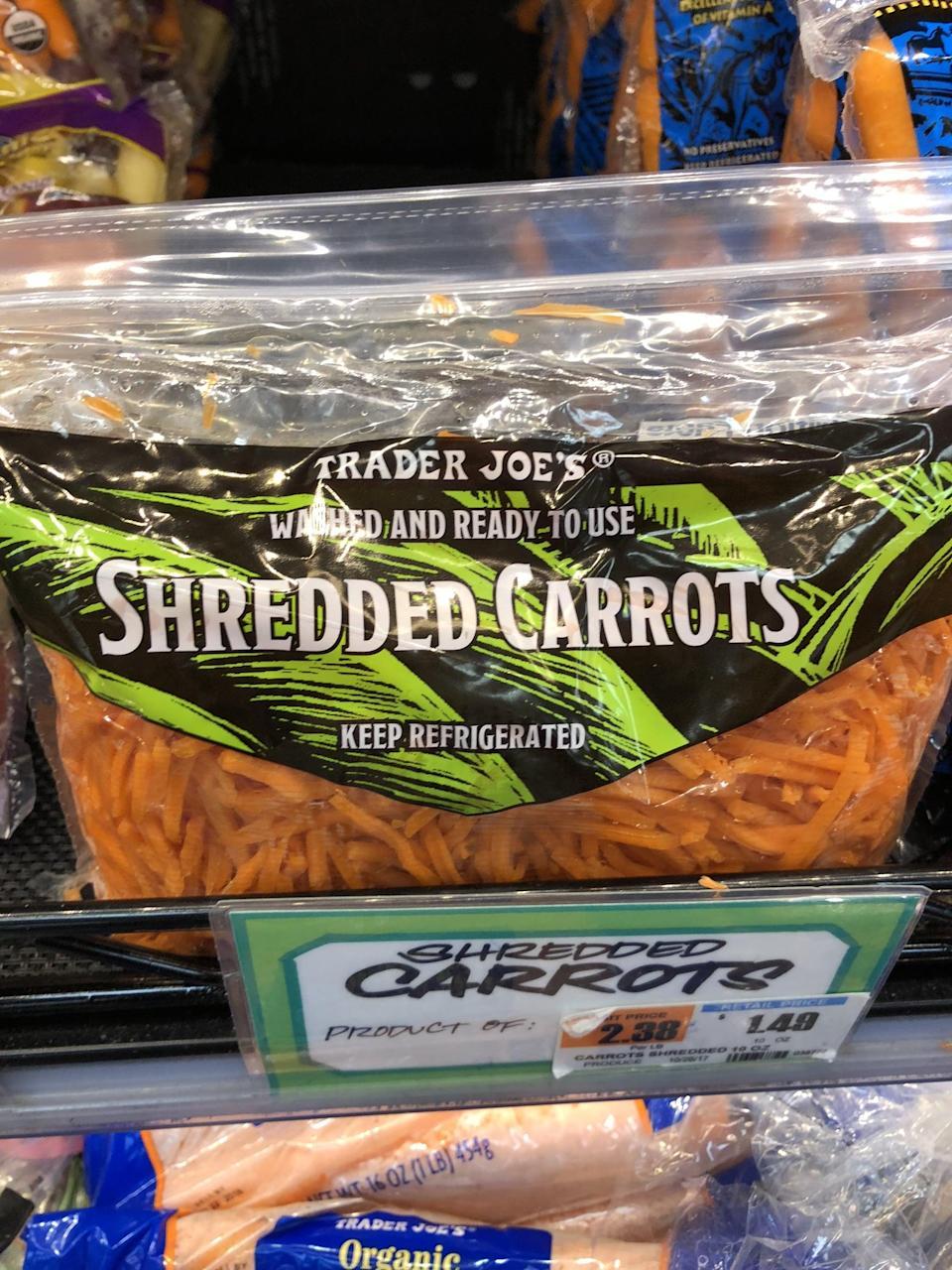 <p>Love carrots in your salads? Forget taking out the cutting board - just use these shredded carrots. You can also sauté them and use as a pasta alternative.</p>