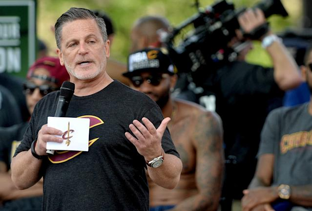 FILE PHOTO: Cleveland Cavaliers owner Dan Gilbert speaks to the crowd during the Cleveland Cavaliers NBA championship celebration in downtown Cleveland, Ohio, U.S. June 22, 2016. MANDATORY CREDIT: Ken Blaze-USA TODAY Sports/File Photo