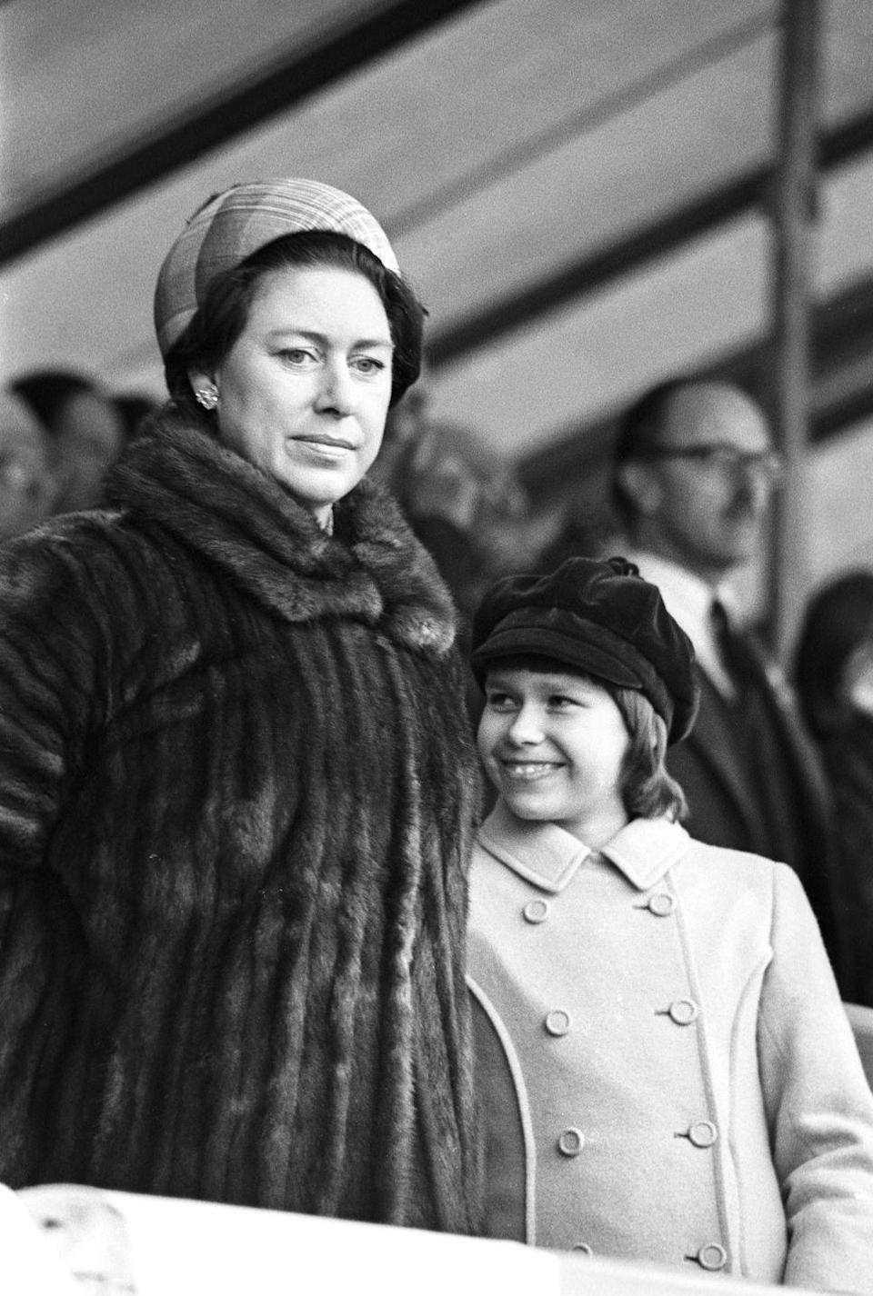 <p>Princess Margaret and her son at the Badminton Horse Trials. </p>