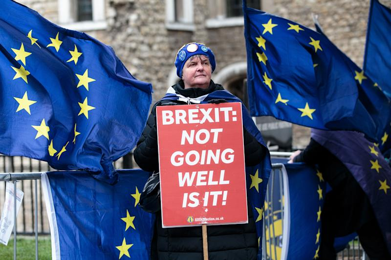 Anti-Brexit protesters demonstrate outside the Houses of Parliament on March 13, 2019 in London.