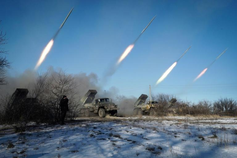 Pro-Russian rebels stationed in the eastern Ukrainian city of Gorlivka, Donetsk region, launch rockets from Grad launch vehicles on February 18, 2015