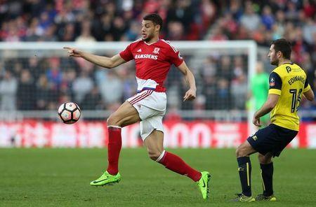 Britain Soccer Football - Middlesbrough v Oxford United - FA Cup Fifth Round - The Riverside Stadium - 18/2/17 Middlesbrough's Rudy Gestede in action Reuters / Scott Heppell Livepic