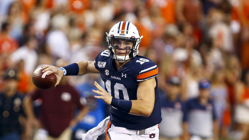 Auburn quarterback Bo Nix (10) throws a pass during the first half of an NCAA college football game against Mississippi State, Saturday, Sept. 28, 2019, in Auburn, Ala. (AP Photo/Butch Dill)