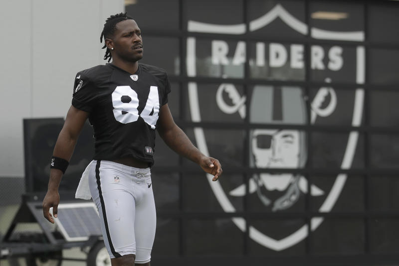 Antonio Brown complained on Instagram that the Oakland Raiders fined him for missing a training camp practice and walkthrough. (AP)