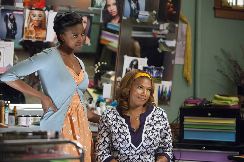 "Condola Rashad (""Shelby"") and Queen Latifah (""M'Lynn"") star in the all-new Lifetime Original Movie, ""Steel Magnolias."""