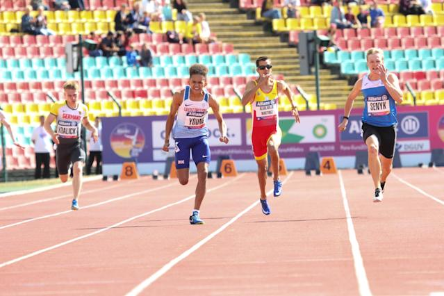 Young prevailed over 100m and 200m in Berlin. Pic: Ben Booth Photography