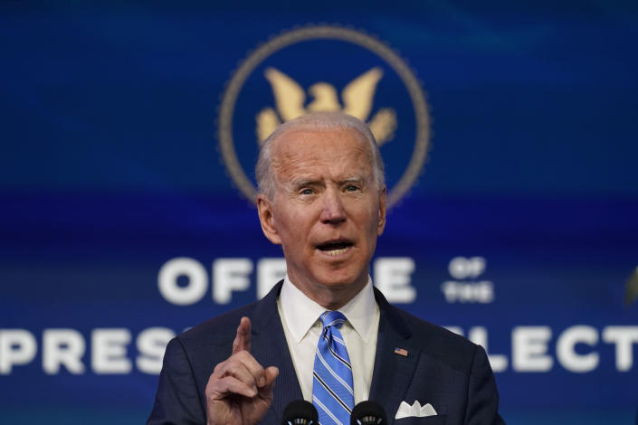 """President-elect Joe Biden speaks during an event at The Queen theater, Thursday, Jan. 14, 2021, in Wilmington. Biden's plan to scrap President Donald Trump's vision of """"America First"""" in favor of """"diplomacy first"""" will depend on whether he's able to regain the trust of allies and convince them that Trumpism is just a blip in the annals of U.S. foreign policy. (AP Photo/Matt Slocum)"""