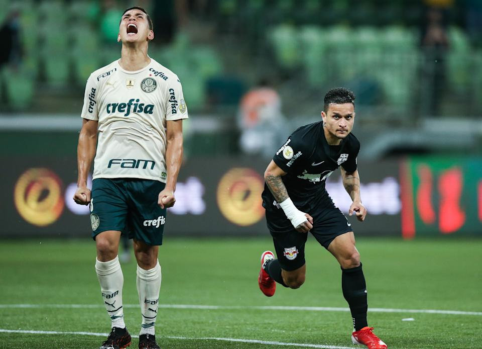 SAO PAULO, BRAZIL - OCTOBER 09: Artur of Red Bull Bragantino celebrates after scoring the fourth goal of his team during a match between Palmeiras and Red Bull Bragantino as part of Brasileirao Series A at Allianz Parque on October 09, 2021 in Sao Paulo, Brazil. (Photo by Alexandre Schneider/Getty Images,)