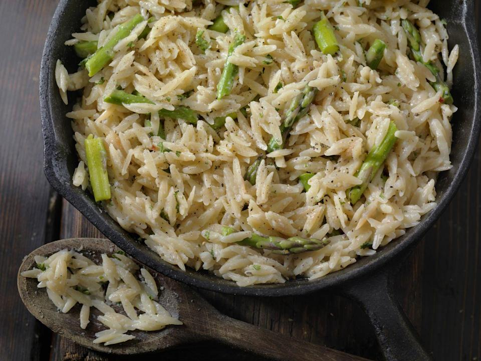 """<p><a href=""""https://www.delish.com/uk/cooking/recipes/a28830223/slow-cooker-beef-stew-orzo-recipe/"""" rel=""""nofollow noopener"""" target=""""_blank"""" data-ylk=""""slk:Orzo"""" class=""""link rapid-noclick-resp"""">Orzo</a> can be made into a dish similar to risotto. Or it is often served as a soup accompaniment, as part of a salad, or baked in a casserole.</p>"""