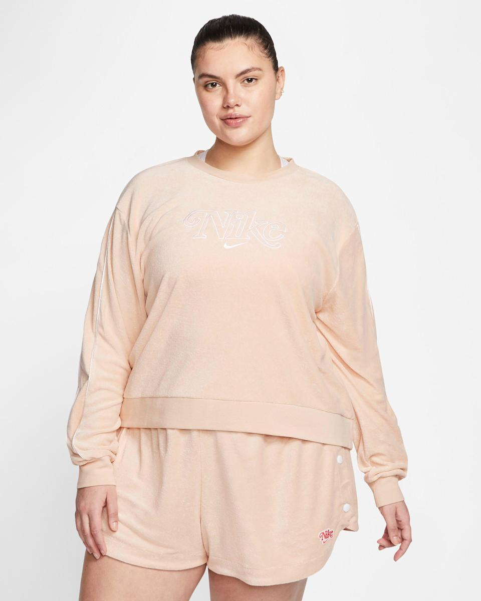 "<h3><a href=""https://www.nike.com/t/sportswear-womens-french-terry-crew-plus-size-46t5cs/CJ2485-287?"" rel=""nofollow noopener"" target=""_blank"" data-ylk=""slk:French Terry Crewneck"" class=""link rapid-noclick-resp"">French Terry Crewneck</a></h3> <br><br><strong>Nike</strong> Women's French Terry Crew (Plus Size), $, available at <a href=""https://go.skimresources.com/?id=30283X879131&url=https%3A%2F%2Fwww.nike.com%2Ft%2Fsportswear-womens-french-terry-crew-plus-size-46t5cs%2FCJ2485-287%3F"" rel=""nofollow noopener"" target=""_blank"" data-ylk=""slk:Nike"" class=""link rapid-noclick-resp"">Nike</a>"