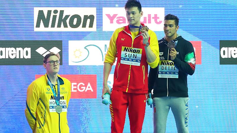 Mack Horton, Sun Yang and Gabriele Detti, pictured here after the 400m final at the 2019 FINA World Championships.
