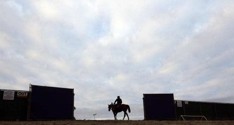 A horse and rider make their way onto the track during morning workouts before the Breeders Cup horse races Wednesday, Nov. 1, 2017, in Del Mar, Calif. Del Mar is hosting the $28 million, 13-race Breeders' Cup for the first time. The season-ending championships open with four races on Friday followed by nine, including the Classic, on Saturday. (AP Photo/Gregory Bull)