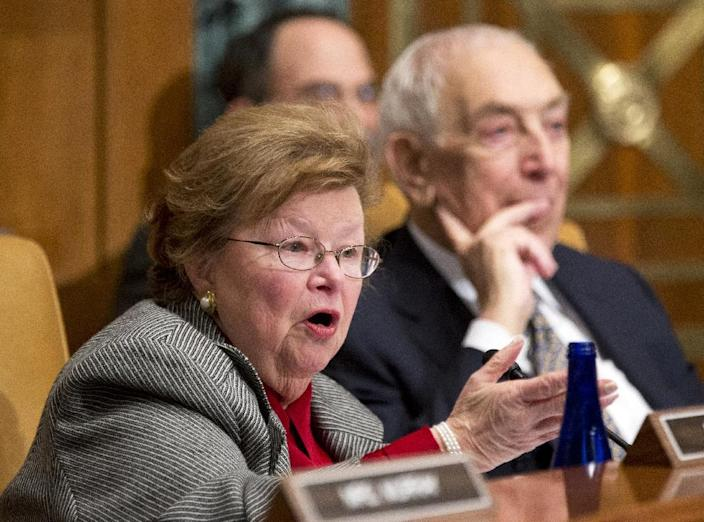 Senate Appropriations Committee member Sen. Barbara Mikulski, D-Md., left, speaks on Capitol Hill in Washington, Wednesday, Dec. 5, 2012, during a Homeland Security subcommittee a hearing to examine Superstorm Sandy, focusing on response and recovery and progress and challenges. Sen. Frank Lautenberg, D-N.J. is at right. (AP Photo/Manuel Balce Ceneta)