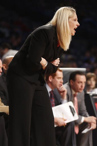 Maryland head coach Brenda Frese yells to her team during the first half of an NCAA college basketball game against Georgia Tech in Atlanta, Sunday, Jan. 20, 2013. (AP Photo/Josh D. Weiss)