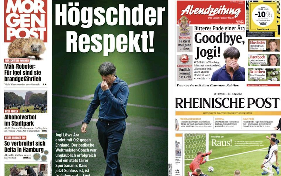A selection of Germany's front pages on Wednesday after England's victory
