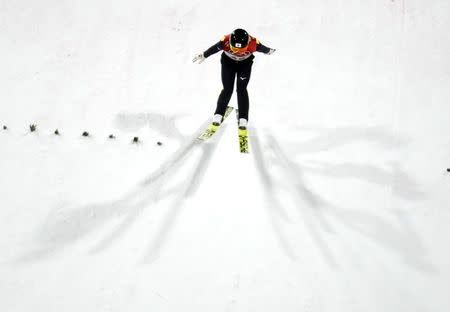 Nordic Combined Events - Pyeongchang 2018 Winter Olympics - Men's Individual Gundersen Large Hill Competition - Alpensia Ski Jumping Centre - Pyeongchang, South Korea – February 20, 2018 - Akito Watabe of Japan lands. REUTERS/Kai Pfaffenbach