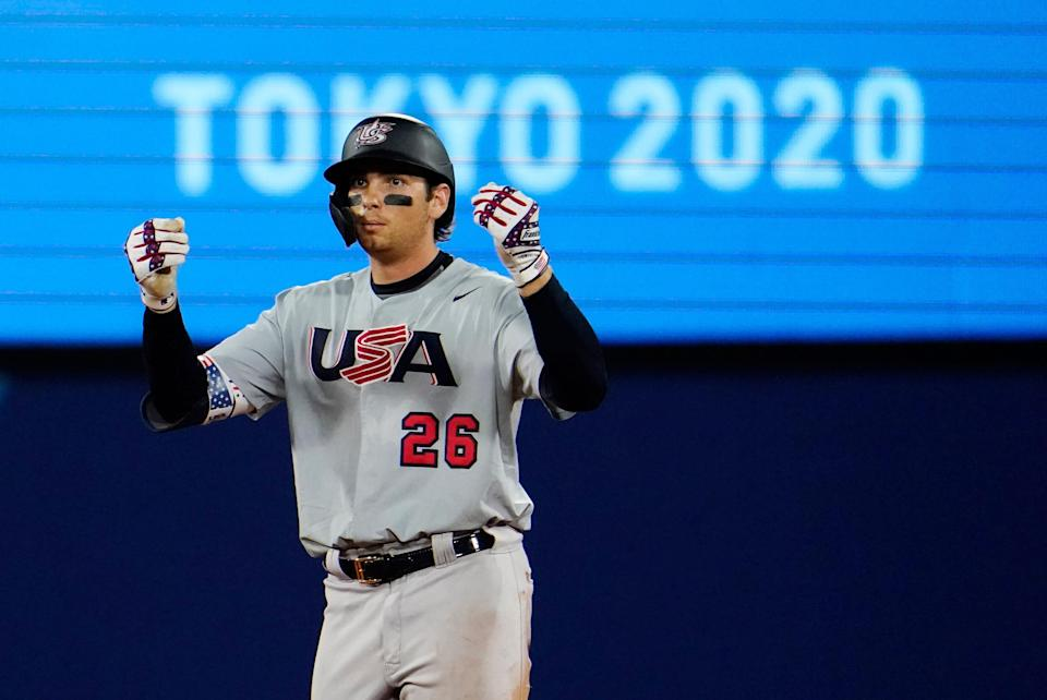 Team USA first baseman Triston Casas celebrates after hitting a double in a second round baseball game during the Tokyo 2020 Olympic Summer Games at Yokohama Baseball Stadium.