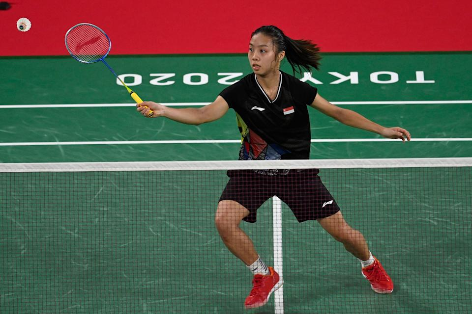 Singapore shuttler Yeo Jia Min hits a shot to South Korea's Kim Gaeun in their women's singles badminton group stage match at he Tokyo 2020 Olympic Games.