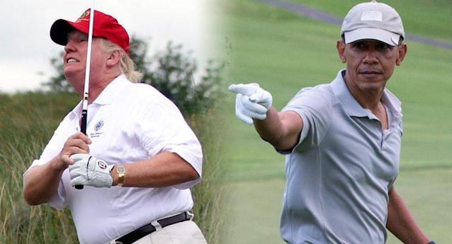 President Trump plays a round of golf, and former President Barack Obama celebrates after hitting a chip shot at a golf course in Hawaii. (Photos: Ian MacNicol/Getty Images, Evan Vucci/AP)