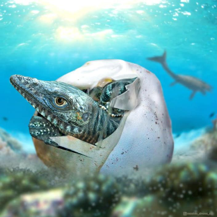 Illustration of a marine reptile hatching