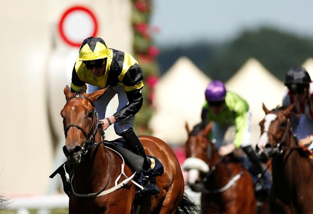 Horse Racing - Royal Ascot - Ascot Racecourse, Ascot, Britain - June 22, 2018 Main Edition ridden by James Doyle wins the 2.30 Albany Stakes Action Images via Reuters/Andrew Boyers